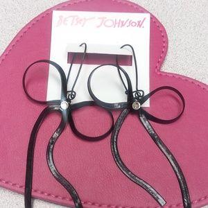Betsey Johnson Black Bow Earrings NWT